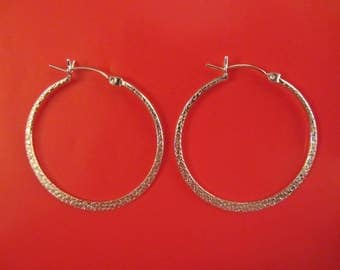 Sterling Silver Large 35mm Hoop Earrings - 3.84g