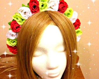 Mexican Headdress, Floral Headband, Flower Crown, Red White, Green Flag, Fiesta Clothing, Latina Headpiece, Day Of The Dead, Cinco De Mayo
