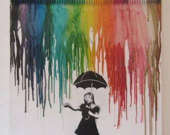 Crayon painting umbrella girl