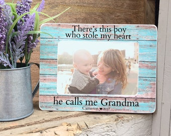 Grandmother Frame Gift For Grandmother   Personalized Picture Frame Gift  There's this girl who stole my heart he calls me Grandma