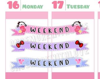 Munchkins - Pastel Ribbon Weekend Banner Planner Stickers (M285)