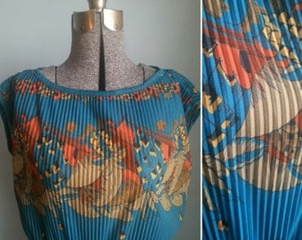 vintage tropical pleated sheer dress