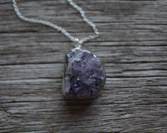 Silver Amethyst Necklace / Raw Amethyst Necklace