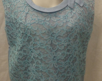 Lovely 1960's Pastel Blue Lace Overlay Shell Top