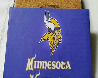 Minnesota Vikings Ceramic Tile Drink Coasters / Vikings Coaster Set / Set of 4