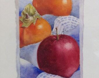 Fruit Still Life, Persimmon, Apple, Still Life Watercolor, Original Watercolor Painting, Fruit Trio