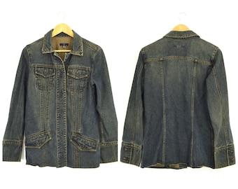 Vintage 90s GAP Denim Jacket Dark Stone Wash Jean Jacket | Button Down Hip Length Long Denim Ranch Jacket Safari Utility Jacket Womens S/M