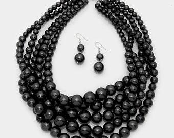 Chunky Black Pearl Necklace, Multi Strand Statement Necklace, Bib Pearl Necklace, Black Jewelry, Black Pearl Necklace, Pearl Bib Necklace