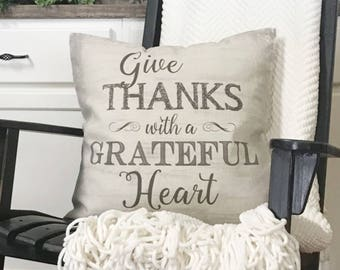 """Farmhouse Grateful Heart throw pillow 20"""" x 20"""" cover and insert included"""