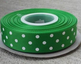 "7/8"" Emerald Green with White Polka Dots - Grosgrain Ribbon - 7/8 inch"