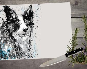 Collie chopping board, cutting board, glass chopping board, collie kitchen gift, country kitchen, border collie, sheepdog