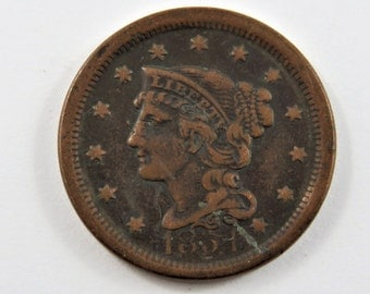 U.S. 1851 Braided Hair One Cent Coin.Full Liberty
