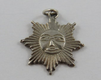 Mexican Happy Sun Face Sterling Silver Charm or Pendant.