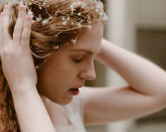"Wedding ""Aria crown"", bridal headpiece, hairvine, flower crown, vintage hairstyle, Made in italy"