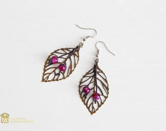 Beach jewelry. Earrings . Abstract Leaf Earrings. Bronze earring, lightweight earring ,leaf dangle ,earring leaf