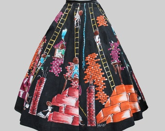 Mexico 1950s Building a Wall Skirt / Vintage Novelty Print Hand Painted Signed Circle Skirt