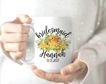Bridesmaids Mug - Yellow Flower Mug - Mug for Bridesmaid - Custom Bridesmaid Mug - Gift for Bridesmaids - Will You Be My Bridesmaid