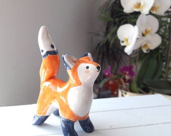 Fox Ring Holder Handmade Of Earthenware Clay - Orange, Blue and White - Animal Totem, Keepsake, Cake Topper, Special Gift