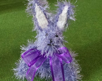 Hand Knitted Easter Bunny Rabbit in Sparkly Pastel Lilac Tinsel Wool - 16cm Tall