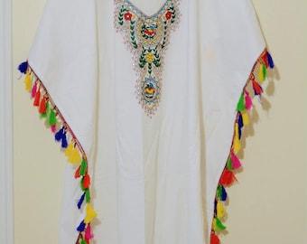 WHITE kaftan dress long caftan maxi dress embroidered bohemian dress gypsy hippie boho caftan for beach or casual wear 100% cotton