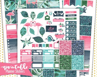 Flamingo Weekly Kit | PRINTABLE Planner Stickers | Pdf, Jpg, and Png Format | ECLP Vertical Planner Stickers