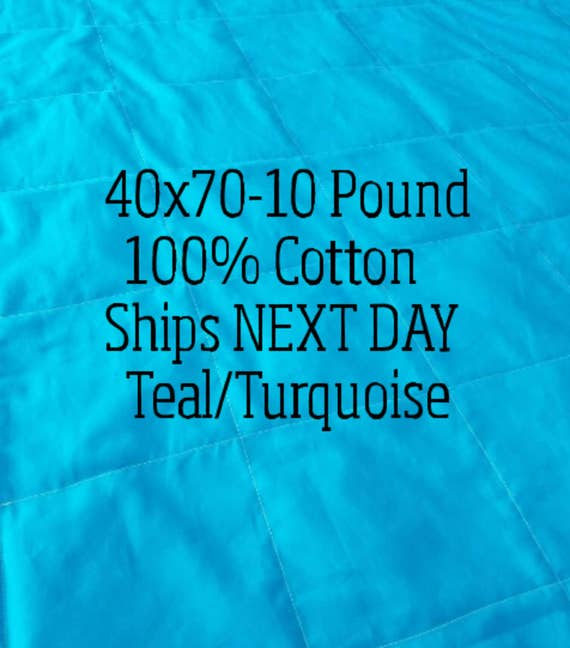 Weighted Blanket, 10 Pound, Teal, Turquoise, 40x70, READY TO SHIP, Twin Size, Adult Weighted Blanket, Next Business Day To Ship