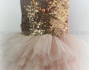 Champagne Gold Baby Dress, Baby Girl Dress, Gold Dress, Baby Photo Prop, Toddler Dress, Infant Dress, Rose Gold Baby Dress,