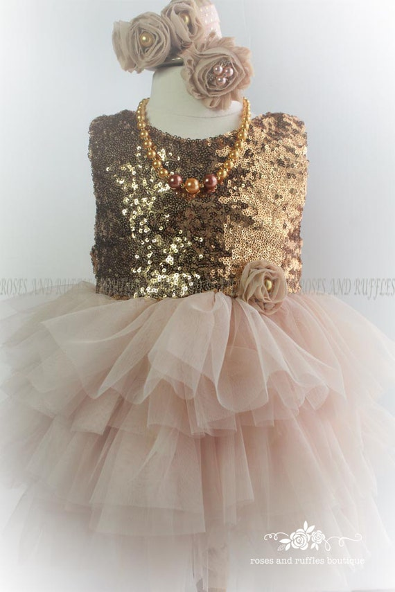 Champagne Gold Baby Dress Girl
