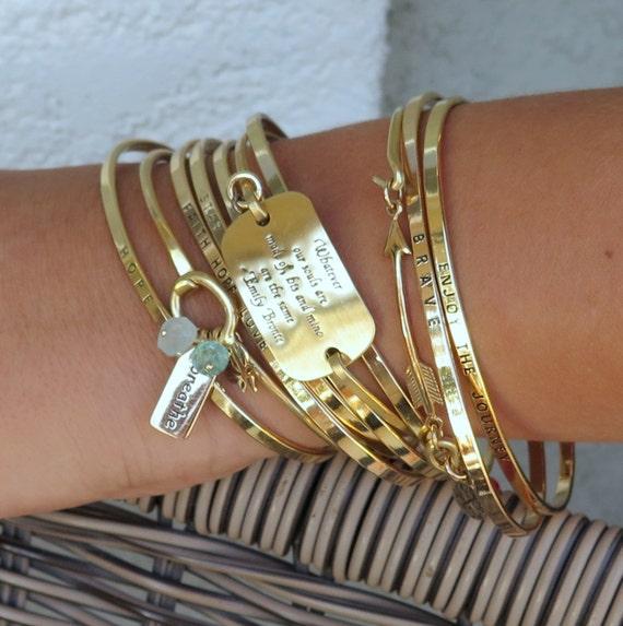 DON'T BE AFRAID Mantra Band, Inspirational Bracelet, Gold Bracelet, Cuff Bracelet, Gift For Her