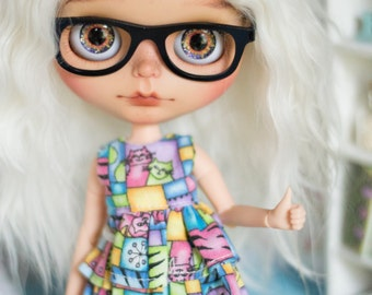 Blythe eyeglasses, custom blythe, doll accessories, custom doll, blythe glasses, *Nerd* frames with glasses eyewear