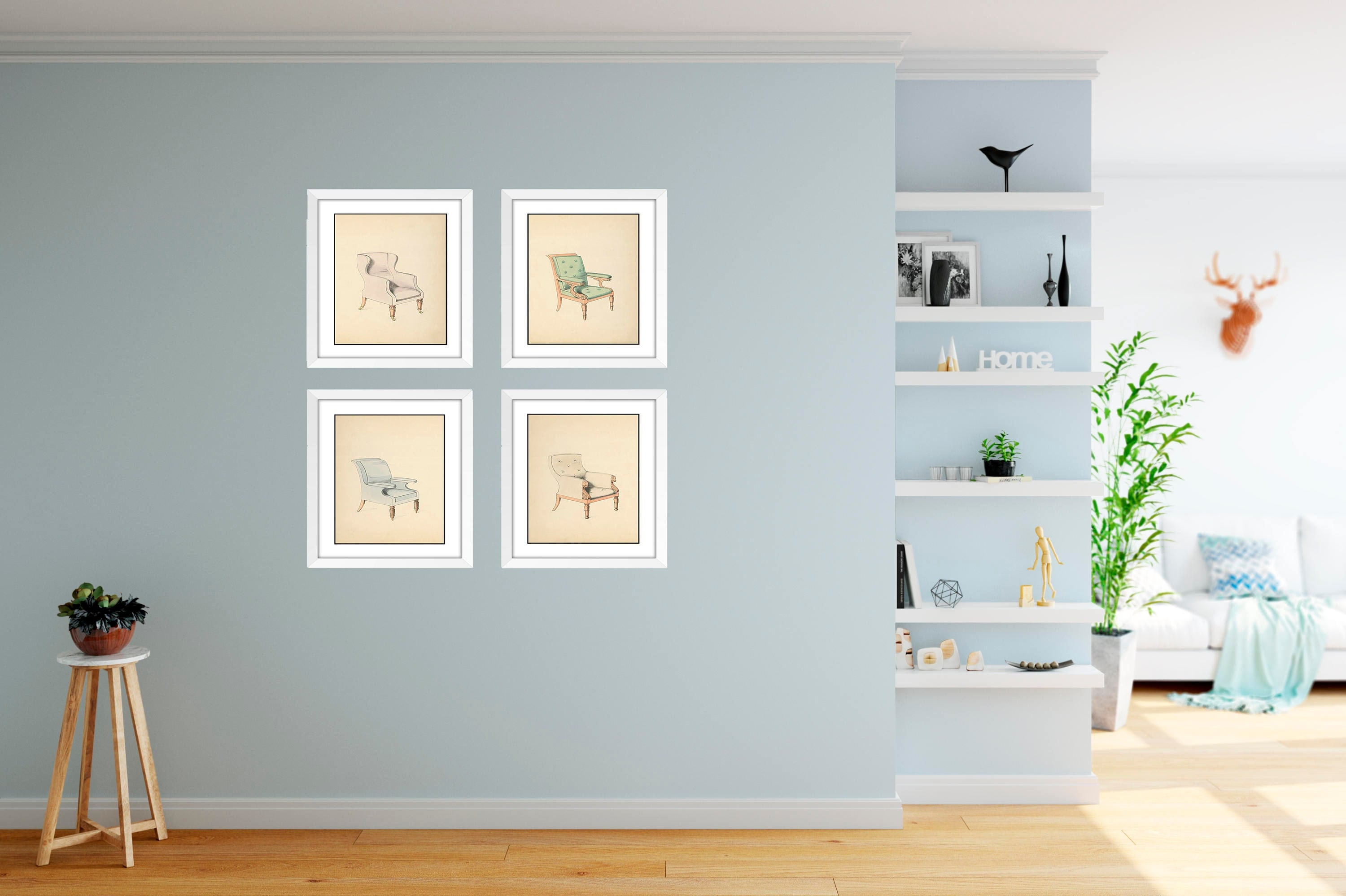 Chair Wall Art Prints, 4 Piece Framed Wall Set, Dining Room Decor ...