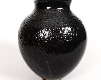 Black Textured Ceramic Vase