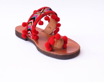 Bocho leather sandal,sandal made Greece,calf leather sandal,nice gift,gift for women,gift for girl,summer gift,hand made sandal