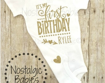 Its my First Birthday, Gold one outfit, Glitter One Birthday, Birthday outfit, Birthday Shirt, Personalized Birthday, 1st Birthday outfit