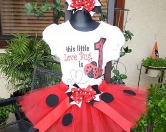 Hand made lady bug birthday tutu love bug tutu outfit