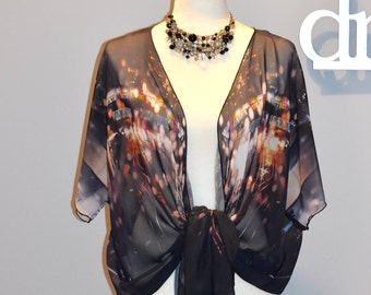 Boho Style Clothes | Wearable Art Clothing | Draped Chiffon Cardigan | Fashion Tops  Resort Wear | Travel Clothes | For Her | Black