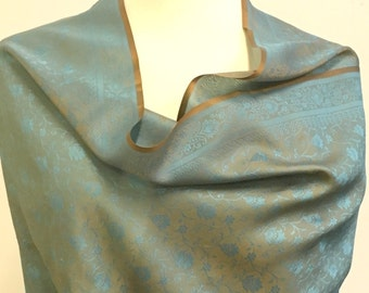 High Quality Blue and Rust Color Silk Stoles