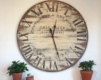 Antiqued General Store Oversized wall clock