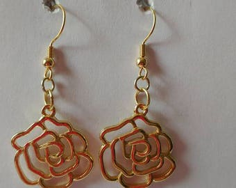 Gold Rose Earrings with gold fishhook