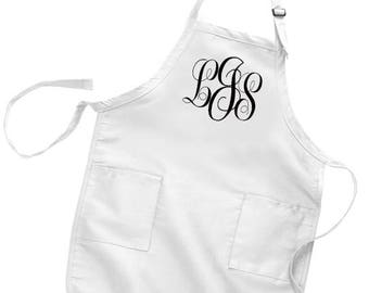 Kitchen Apron, Monogrammed, Full Length Bib Apron with Adjustable Neck with Pockets, Ladies Apron, Mens Apron, Bib Apron, Kitchen Decor