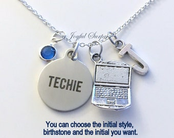 Laptop Necklace, Gift for Techie Jewelry BFF Friend Computer Geek Charm Custom Personalized Initial Birthstone Seller in PEI Canada present
