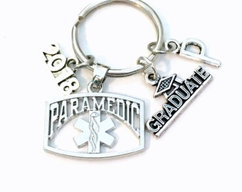 Graduation Gift for Paramedic Keychain, 2017 2018 EMT Student Grad 2016 Key Chain Keyring Initial Letter Medical charm Jewelry Attendant