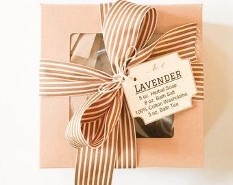 Lavender Spa Gift Set- Bath & Body Gift Box with soap, bath salt, bath tea and washcloth-  Gift Set