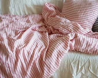 Striped pink linen duvet cover - pink white striped quilt cover - pink linen doona cover - Queen Cal King bedding, washed linen bedding