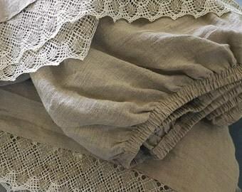4 pcs linen sheet set w linen lace, stonewashed heavier linen sheets and pillow shams, Queen sheet set, King linen sheet set, flax bedding
