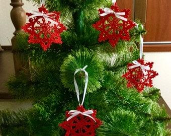 Christmas Ornaments Red Crochet Snowflakes Christmas Decoration Christmas Star Doily Snowflake Christmas chaplet Wedding Decors