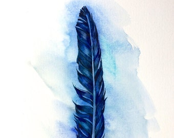 Feather in blue ORIGINAL watercolor painting, still life,original  art, gift, home decor