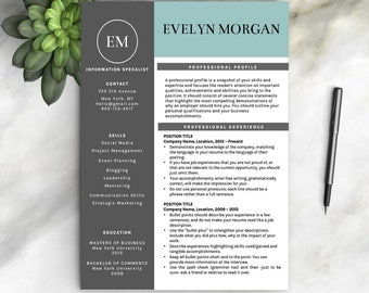 Creative Resume Template for Word + Free Cover Letter + Social Icons | Modern CV Template | Professional Resume Template | Instant Download