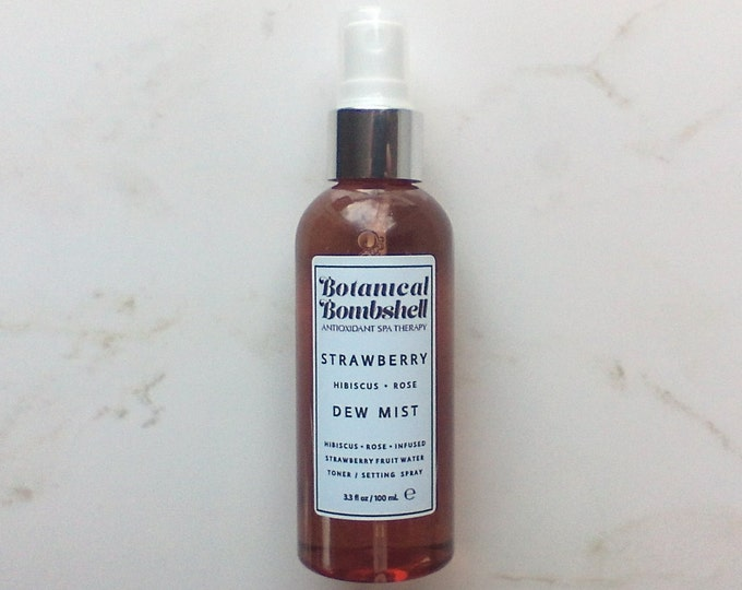 Strawberry Hibiscus Rose / Glow Enhancing / Ph Balancing / Dew Mist / Facial Toner / All Natural Setting Spray (Alcohol Free) 3.3 oz / 100mL