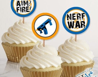 Nerf Party Cupcake Toppers, Nerf Tags, Nerf Party Favor Tags, Nerf War Party Decor, Nerf Gun Favor Tag, Nerf Party Stickers | PRINTABLE